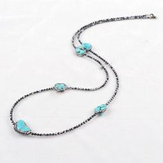 """Blue Turquoise  Necklace CZ Paved Blue Turquoise Necklace. Black stones Bead Chain. Approx. 30"""" Jewelry Necklaces"""