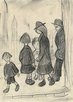 Lowry: 1956 - Figures By Railings Klimt Art, Watercolor Pictures, Spencer, David, English Artists, Art Drawings Sketches Simple, Art Base, Art For Art Sake, People Art