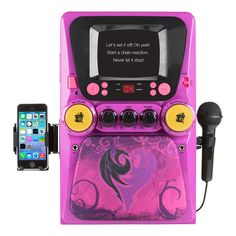 Descendants CDG Karaoke Machine, exclusively at Toys R Us features:CD/CD+ Graphics CompatibleEnhanced Vocal EffectsPlay Music from iPad, iPhone, iPod, Tablet Device or the CD/CD+Dual Microphone Inputs for Singing Duets (One Microphone Included)Raised on the Isle of the Lost, the next generation of Disney's most famous villains are going to high school! Join Mal, Carlos, Evie, and Jay on their spell-binding adventures with ...