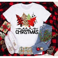 Christmas Monogram Shirt, Christmas T Shirt Design, Cute Christmas Outfits, Funny Christmas Shirts, Monogram Shirts, Merry Christmas, Christmas Signs Wood, Plaid And Leopard, Tree Svg