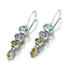 Mixed Stones Earrings Sterling Silver 925 Blue by ToledoJewelry