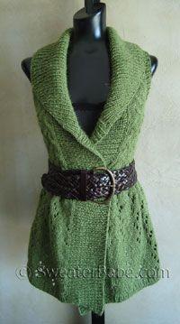 Long Lace Shawl-Collar Vest PDF Knitting Pattern