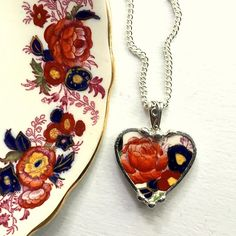 Broken china jewelry heart pendant necklace antique Royal Cauldon Majestic recycled china by dishfunctionldesigns on Etsy