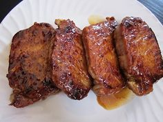 Glazed Pork Chops ~ Make your spice rub by combining 1/4 cup of brown sugar with whatever spices you like,  cayenne, paprika, garlic powder, black pepper and salt.....