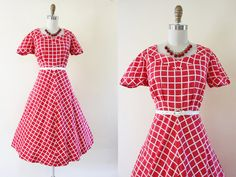 40s Dress - Vintage 1940s Dress - Red White Windowpane Plaid Cotton Full Skirt Sundress L - Leap of Faith