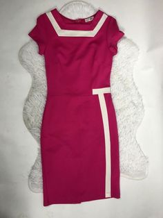 Mod Retro Pink Hot Pink Bubblegum Barbie Punk Pinup Wiggle Stretch Dress Size S #lette #wiggle #any