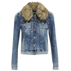 ONLY Women's Chris Denim Fur Jacket - Medium Blue (€29) ❤ liked on Polyvore featuring outerwear, jackets, denim, blue, only jackets, long sleeve jean jacket, cropped denim jacket, cropped jacket and long sleeve crop jacket