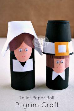 Easy toilet paper roll pilgrim craft simple enough for a preschool or kindergarten Thanksgiving activity.