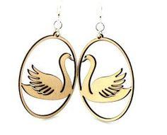 Wood Earrings :: Animal Earrings :: Swan in Oval Earrings # 1060