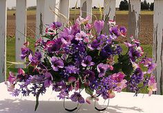 Purple Pansies Cemetery Flowers Tombstone Saddle Mothers Day Grave Memorial