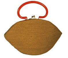 Garay Burlap Fan Purse with Orange Lucite Handles by PastPrezence