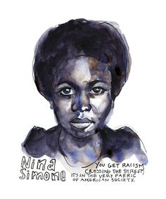 Portfolio — Artist Lydia Makepeace Nina Simone Quotes, Jazz Poster, Ink Illustrations, Wall Art Quotes, Female Portrait, Quote Prints, Watercolor And Ink, Black History, Giclee Print