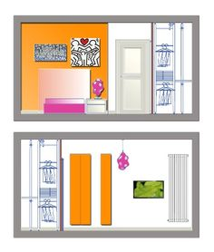 Arredo villa unifamiliare - Prospetto camera ragazzi - Maria Teresa Azzola Designer - Villa d'Almè (BG) 2009