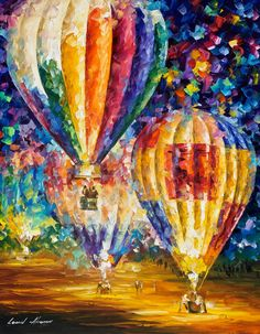 Original Recreation Oil Painting on Canvas This is the best possible quality of recreation made by Leonid Afremov in person. Title: Balloons