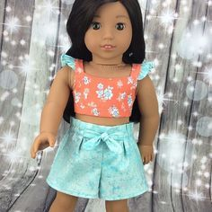 I made this adorable outfit from a new pattern. This set is now available in my shop. Link in bio. Sewing Doll Clothes, Sewing Dolls, Girl Doll Clothes, Girl Dolls, Ag Dolls, Boy Doll, My American Girl Doll, American Doll Clothes, Doll Dress Patterns