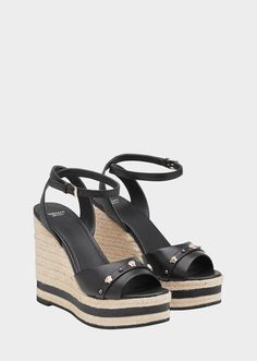 Medusa Stud Wedges from Versace Women's Collection. High-heel, rounded point open toe, platform striped wedges, with two-toned Medusa stud toe strap and ankle strap buckle closure. Versace Fashion, Fashion Shoes, Versace Sandals, Striped Wedges, Flip Flop Shoes, Platform High Heels, Wedge Sandals, Open Toe, Ankle Strap