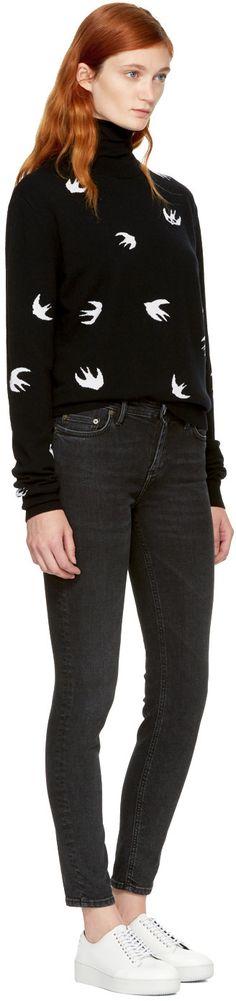 McQ Alexander McQueen - Black Swallows Crewneck Sweater