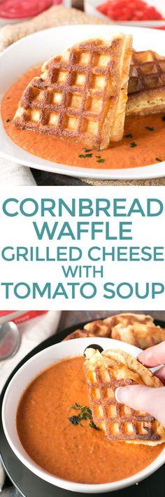 Cornbread Waffle Grilled Cheese Sandwich with Tomato Basil Soup – Cake 'n Knife Waffle Cake, Cake Waffles, Cheese Waffles, Savory Waffles, Waffle Mix, Waffle Shop, Keto Waffle, Pancakes, Sandwich Sides