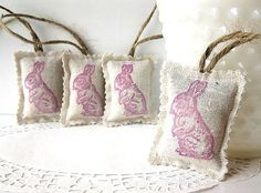 Woodland Rabbit Mini Lavender Sachets  Set of 4 by ThimbleWoods, $12.00
