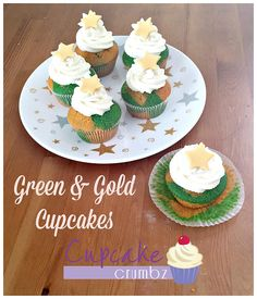 Cupcake Crumbz - Adelaide Hills Cakes and Cupcakes Gold Cupcakes, Green And Gold, Cupcake Cakes, Posts, Desserts, Blog, Tailgate Desserts, Messages, Deserts