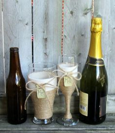 Rustic Wedding Glasses / Country Wedding by CarolesWeddingWhimsy set of 2, Rustic Wedding Glasses – Country Wedding Glasses - This is a Jute Covered Champagne Flute for the Bride and a Matching Beer Pilsner for the Groom - You can find it here https://www.etsy.com/listing/191853399/rustic-wedding-glasses-country-wedding https://www.etsy.com/shop/CarolesWeddingWhimsy https://www.facebook.com/CarolesWeddingWhimsy