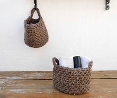 Crochet hanging basket | bathroom storage | farmhouse decor