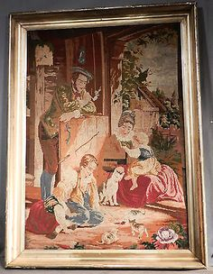 Antique-Needlepoint-Tapestry-Lemon-Gold-Frame-Cat-Kitten-Children-Victorian-Art