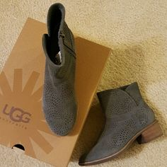 UGG Darling Seaweed Perforated Ankle Boots Charcoal ankle boots.  Brand new, never worn. UGG Shoes Ankle Boots & Booties