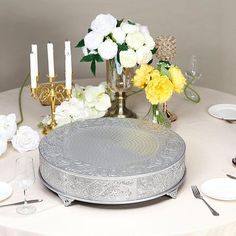 Wedding Cake Stands, Wedding Cake Toppers, Wedding Cakes, Metal Cake Stand, Elegant Cakes, Silver Rounds, Wedding Reception, Special Occasion, Anniversary