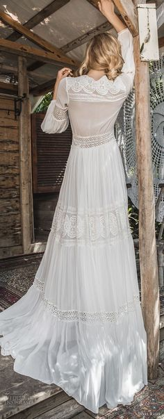 inbal raviv 2017 bridal long sleeves deep v neck full lace embellishment bohemian soft a  line wedding dress sweep train (mila) bv -- Inbal Raviv 2017 Wedding Dresses