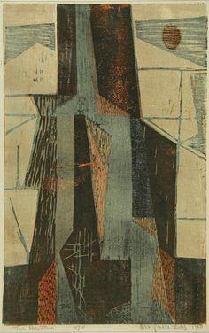 yama-bato:  Hildegarde Haas The Mountain 1950 Color woodcut link