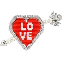 Shourouk Emojibling Heart brooch featuring polyvore, women's fashion, jewelry, brooches, red, heart brooch, heart-shaped jewelry, red heart jewelry, heart jewellery and heart jewelry
