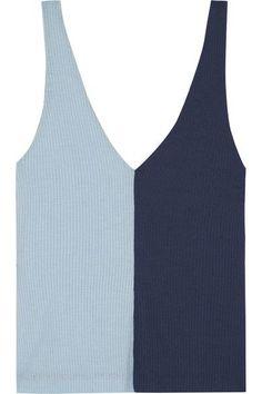 STAUD Aki two-tone ribbed stretch-knit tank. #staud #cloth #tops