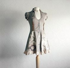 Taupe Brown Women's Dress Upcycled Clothing Shirt Dress Retro Clothes Reconstructed Cap Sleeves Spring Eco Fashion Small XS 'BRYNN'
