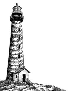 Illustration of the Rockport Lighthouse in Rockport Massachusetts. Done in fine point pen & ink. Borderless Black frame (shown in second picture