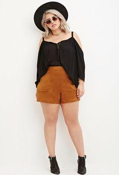 Plus Size Faux Suede Shorts