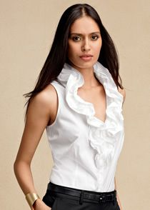 A chic sleeveless blouse is perfect in warm weather. From Lafayette 148 NY.