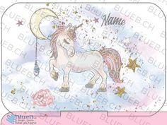 Yumbox Sticker Personalized-Unicorn in heaven Cover, Unicorn, Diagram, Map, Stickers, Etsy, Names, Sticker, Kids
