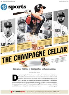 Sports Photography 7 I chose this design layout because the black and white photos in the back help emphasize the colored cutout. This layout is a good inspiration because it would be cool way to use a bunch of pictures of a single person for a spread. Newspaper Design Layout, Page Layout Design, Web Design, Design Trends, Magazine Design, Graphic Design Magazine, Editorial Design, Editorial Layout, Sports Editorial