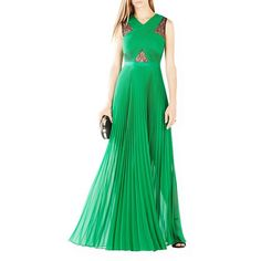 Bcbgmaxazria Pleated Crisscross Gown ($351) ❤ liked on Polyvore featuring dresses, gowns, malachite, lace panel dress, green ball gown, pleated evening gown, green gown and crisscross dress