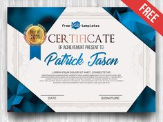 Free Certificate Template IN PSD by Mockupfree nbbn Certificate Of Completion Template, Free Certificate Templates, Free Certificates, Certificate Of Appreciation, Certificate Of Achievement, Stationery Templates, Psd Templates, Certificate Design Online, Certificate Background