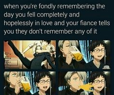 Victor realizes that Yuri doesn't remember him and Victor dancing at banquet with champagne, episode 10 credits when he fell in love
