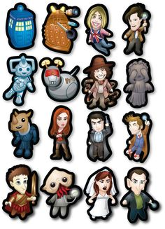 Doctor Who Magnet Set by mikeintosh on Etsy, $17.50