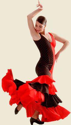Flamenco, Vestido bicolor con tres volantes, Vestido/ Dress
