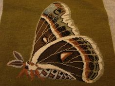 The seller lists this petit point tapestry piece as a portrait of a Butterfly,but- note the wonderfully chubby body,& the big,feathery antennae;this is a beautifully rendered Moth! It may be a Silk Moth.I always loved the softness of silk,& it IS easier on the environment than plastic-based polyester fabrics are,but I was horrified to hear that to make silk, pupating Silk moths were dumped into boiling water to make their cocoons unravel!Surely we could come up with a more humane way to…