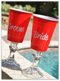 Personalized Bride Groom Red Solo Cup by pinkturtlecrossing, $18.95   OMG, these are a riot! :)
