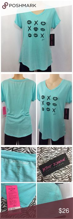 """Betsey Semi Sheer Fresh Teal Summer Cuffed Tee M Betsy Johnson Performance Tee Size Medium Color: Fresh Teal Tagless, V-Neck, Semi Sheer(almost burnout style) Stitched Cuff, Scalloped Hem w/Reflective Logo. Material: 57%Polyester/43%Cotton Measurements: Shoulder to Shoulder 16"""" Underarm to UA 18.5"""" Mid-Neck to Hem 26.5"""". I received as a gift from a special PFF! Too big for me... NWT. Bundle 3 or more and receive 15% at checkout. Thank you for browsing my closet. Betsey Johnson Tops Tees…"""