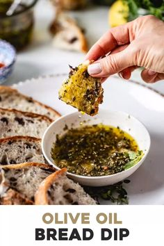 This Olive Oil Bread Dip recipe is the easiest appetizer you can make in less than 5 minutes An Italian restaurant classic serve this olive oil dip with a crusty loaf of bread and be the talk of the table Olive Oil Dip For Bread, Olive Oil Bread Dip, Olive Oil With Garlic, Olive Oil Pasta, Bread Dipping Oil, Vegan Recipes, Cooking Recipes, Vegetarian Italian Recipes, Vegetarian Tapas