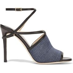 Jimmy Choo Flora leather-trimmed denim sandals (57,520 INR) ❤ liked on Polyvore featuring shoes, sandals, heels, blue, blue strappy sandals, peep toe sandals, blue sandals, strap high heel sandals and high heel shoes