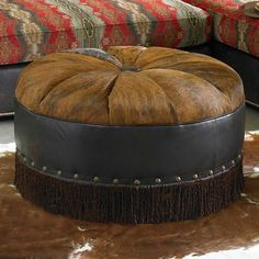 ༻❁༺ ❤️ ༻❁༺ HAIR ON HIDE ROUND OTTOMAN   King Ranch ༻❁༺ ❤️ ༻❁༺